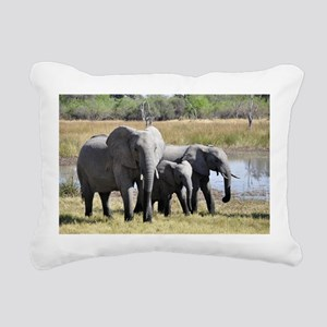 african elephant two Rectangular Canvas Pillow