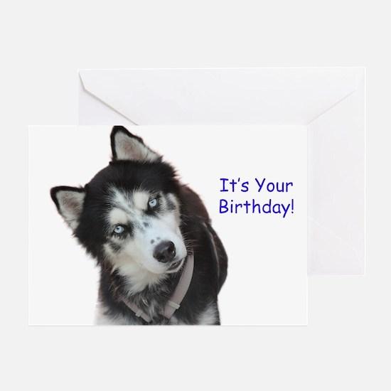 Siberian Husky Birthday Greeting Cards