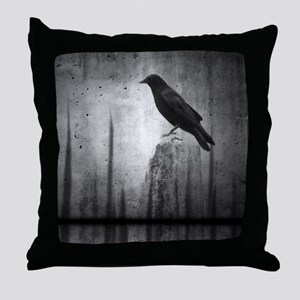 Dark Night Crow Throw Pillow