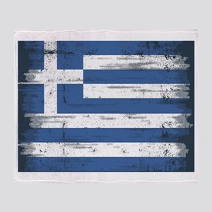Vintage Greek Flag Throw Blanket