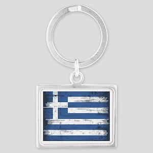 Vintage Greek Flag Landscape Keychain