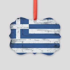 Vintage Greek Flag Picture Ornament