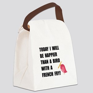 Bird With French Fry Canvas Lunch Bag