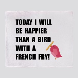 Bird With French Fry Throw Blanket