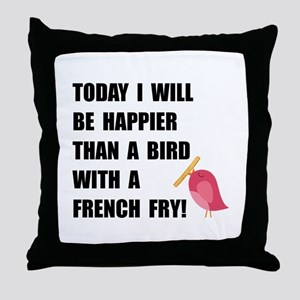 Bird With French Fry Throw Pillow