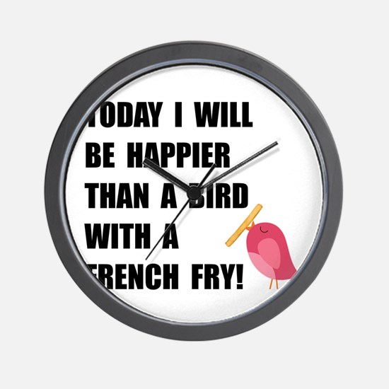 Bird With French Fry Wall Clock