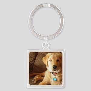 Two Girls & a Dog Square Keychain