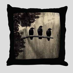 Three On A Branch Throw Pillow