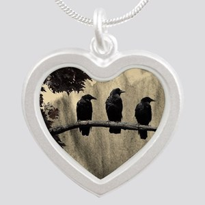 Three On A Branch Silver Heart Necklace