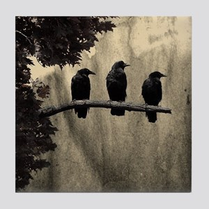 Three On A Branch Tile Coaster