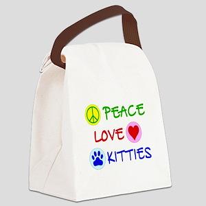 Peace-Love-Kitties Canvas Lunch Bag