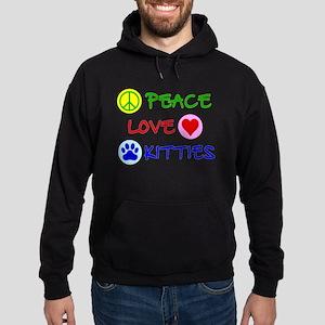 Peace-Love-Kitties Hoodie (dark)