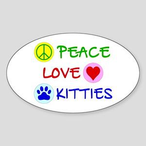 Peace-Love-Kitties Sticker (Oval)
