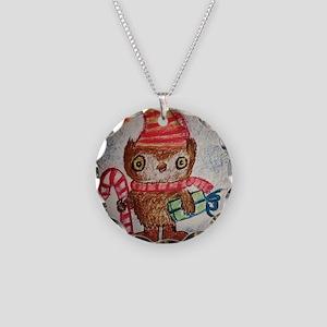 Christmas Owl Necklace Circle Charm