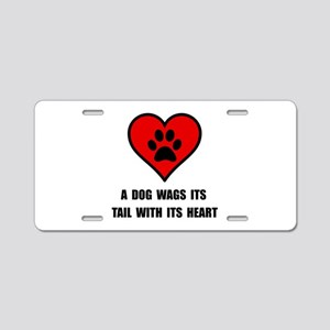 Dog Wag Heart Aluminum License Plate