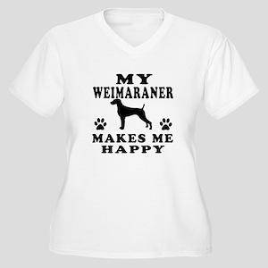 My Weimaraner makes me happy Women's Plus Size V-N