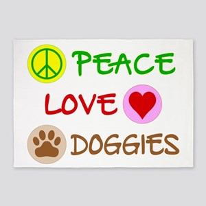 Peace-Love-Doggies 5'x7'Area Rug