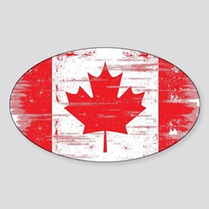 Vintage Canadian Flag  Sticker (Oval)