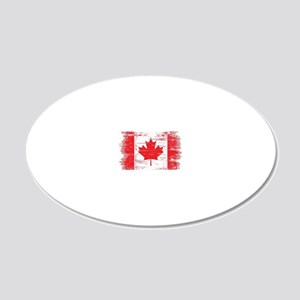 Vintage Canadian Flag  20x12 Oval Wall Decal