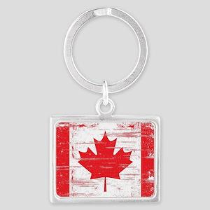 Vintage Canadian Flag  Landscape Keychain