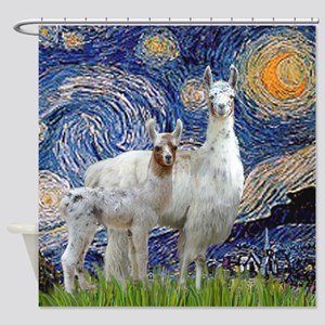 Starry Night - Llama Mama-Baby Shower Curtain