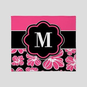 Pink Black Floral Monogram Throw Blanket