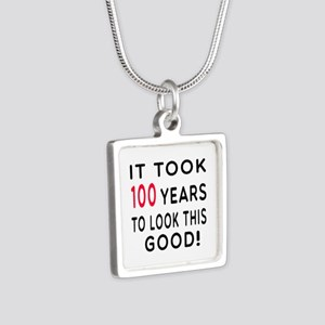 It Took 100 Birthday Designs Silver Square Necklac