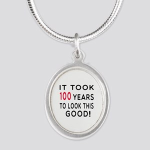 It Took 100 Birthday Designs Silver Oval Necklace