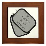 My Fiance is an Airman dog tag Framed Tile
