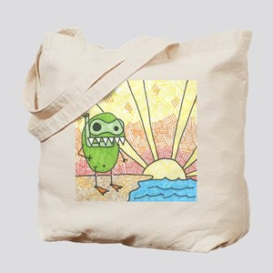 Pea Monster out for a swim Tote Bag