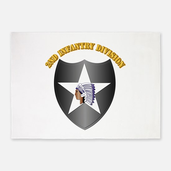SSI - 2nd Infantry Division with Text 5'x7'Area Ru