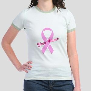 Custom Pink Ribbon Jr. Ringer T-Shirt