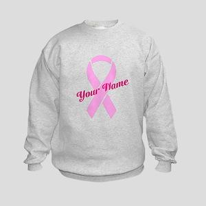 Custom Pink Ribbon Kids Sweatshirt