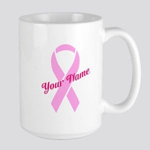 Custom Pink Ribbon Large Mug