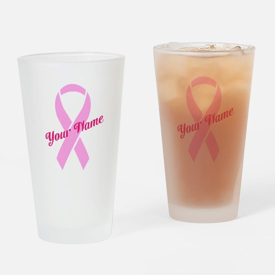 Custom Pink Ribbon Drinking Glass