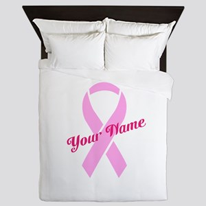 Custom Pink Ribbon Queen Duvet