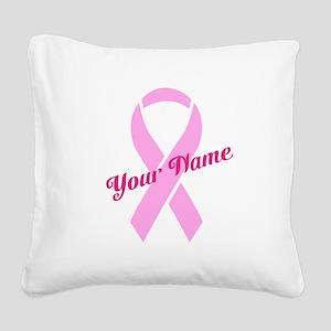 Custom Pink Ribbon Square Canvas Pillow