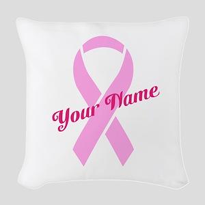 Custom Pink Ribbon Woven Throw Pillow