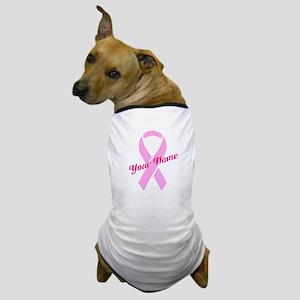 Custom Pink Ribbon Dog T-Shirt