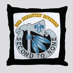 DUI - 2nd Infantry Division with Text Throw Pillow