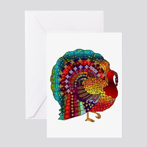 Thanksgiving Jeweled Turkey Greeting Cards