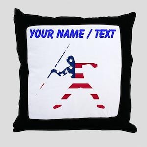 Custom American Flag Javelin Throw Throw Pillow