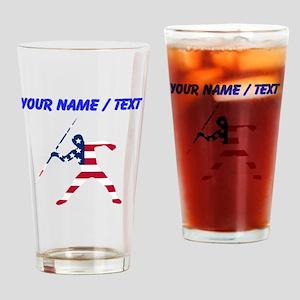 Custom American Flag Javelin Throw Drinking Glass
