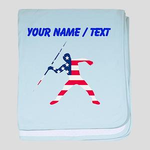 Custom American Flag Javelin Throw baby blanket