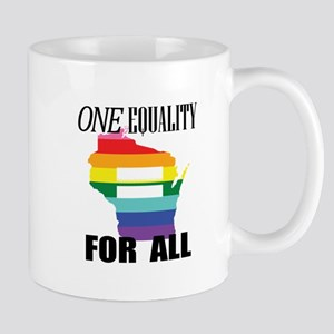 Wisconsin one equality blk font Mugs