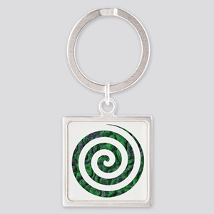 BLUE AND GREEN SWIRL Square Keychain