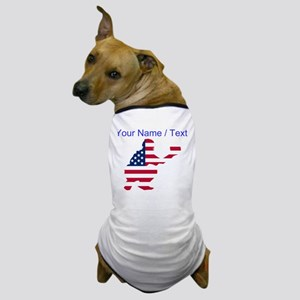Custom American Flag Baseball Catcher Dog T-Shirt