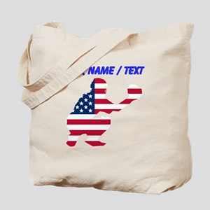 Custom American Flag Baseball Catcher Tote Bag
