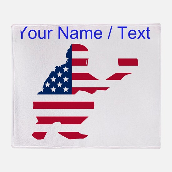 Custom American Flag Baseball Catcher Throw Blanke