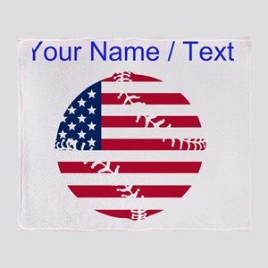 Custom American Flag Baseball Throw Blanket
